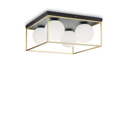 LINGOTTO vintage mennyezeti lámpa, fekete-arany, négyes